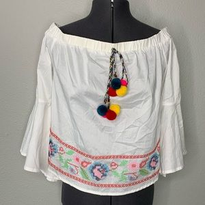 A Calin white rainbow embroidered off shoulder top